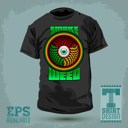 Graphic T- shirt design Smoke weed badge