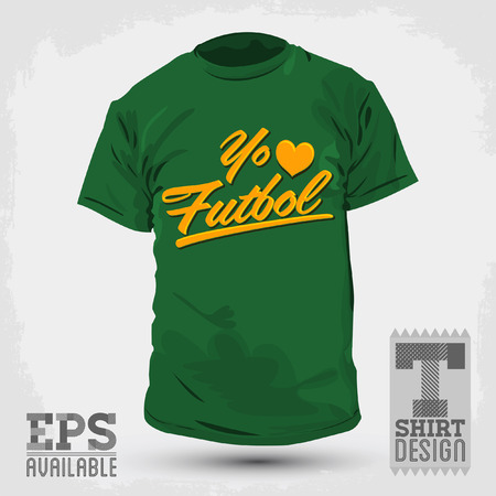 Graphic T- shirt design Yo amo el Futbol  Vector