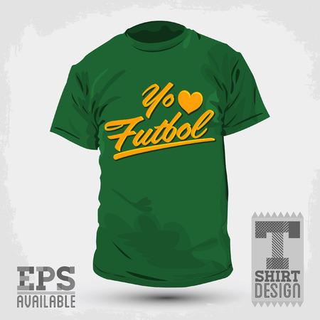 futbol: Graphic T- shirt design Yo amo el Futbol  Illustration