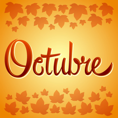 Octubre - October spanish  sign - lettering icon - emblem with leafs
