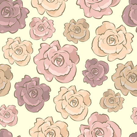 Seamless floral pattern - Pastel color Roses Seamless background