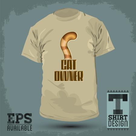 Graphic T- shirt design - Cat Owner, Cat tail Icon - emblem, lettering - shirt graphic design - vector illustration.