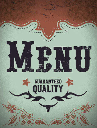 Vintage menu illustration - restaurant menu design - western style