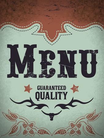 western background: Vintage menu illustration - restaurant menu design - western style