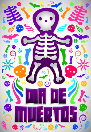 Dia de Muertos - Mexican Day of the death spanish text colorful candy vector decoration Vector