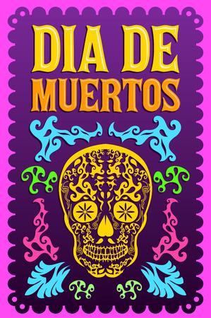 ¢  day of the dead       ¢: Dia de Muertos - Día mexicano de la muerte de texto españoles decoración colorida vector