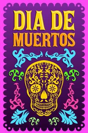 Dia de Muertos - Mexican Day of the death spanish text colorful vector decoration