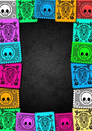 Jour mexicaine du coloré modèle d'affiche de mort - cadre Banque d'images - 32691154
