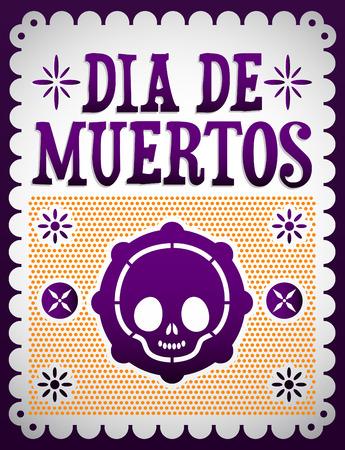 mexico cartoon: Dia de Muertos - Mexican Day of the death spanish text vector decoration