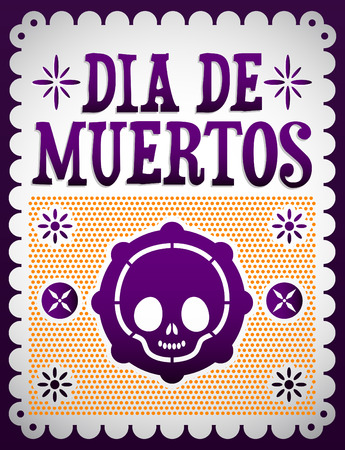 Dia de Muertos - Mexican Day of the death spanish text vector decoration