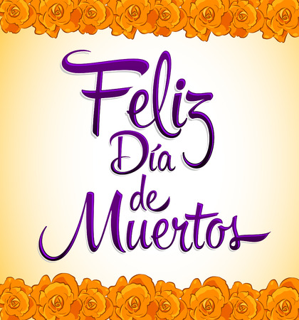 フェリス dia de ムエルトス - 死のスペイン語のテキストの幸せな日 - 印刷花