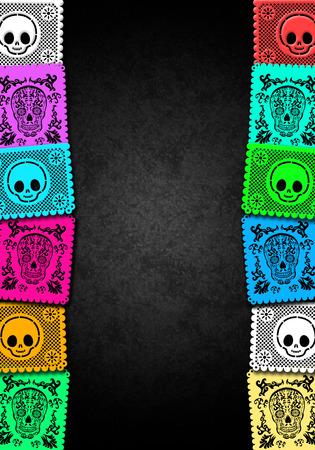 ¢  day of the dead       ¢: Día mexicano de la plantilla del cartel colorido de la Muerte - marco
