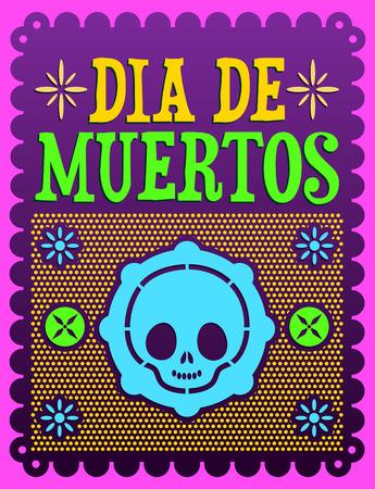 Dia de Muertos - Mexican Day of the death spanish text vector decoration Vector