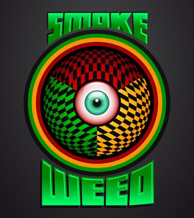 rastafarian: Smoke weed, rasta red eye icon - emblem - weed is another name for marijuana