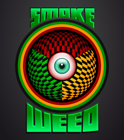 Smoke weed, rasta red eye icon - emblem - weed is another name for marijuana