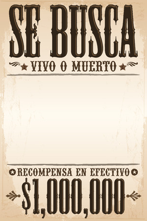 Se busca vivo o muerto, Wanted dead or alive poster spanish text template - One million reward Imagens - 33135847
