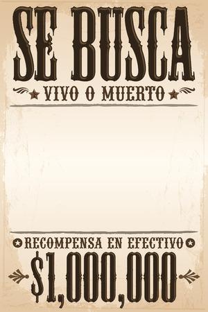 Se busca vivo o muerto, Wanted dead or alive poster spanish text template - One million reward 版權商用圖片 - 33135847