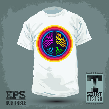 fashion design: Graphic T- shirt design - Peace and Love Icon, emblem - shirt graphic design - vector illustration.