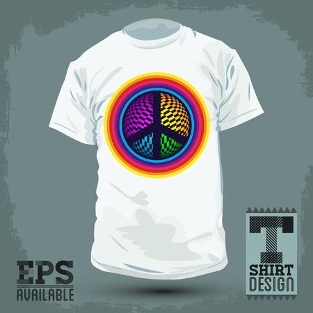 t shirt design: Graphic T- shirt design - Peace and Love Icon, emblem - shirt graphic design - vector illustration.