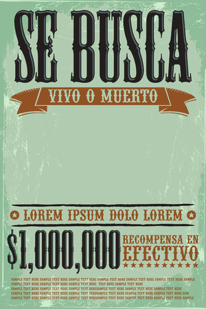 wanted poster: Se busca vivo o muerto, Wanted dead or alive poster spanish text template - One million reward