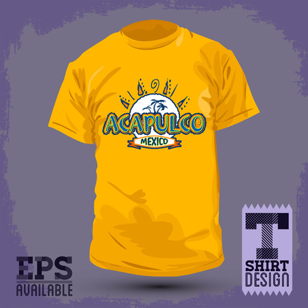 print shop: Graphic T- shirt design - Acapulco Mexico - Vector illustration - shirt print Illustration