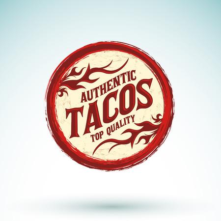 Tacos vintage icon - emblem, Grunge rubber stamp, mexican food Illustration