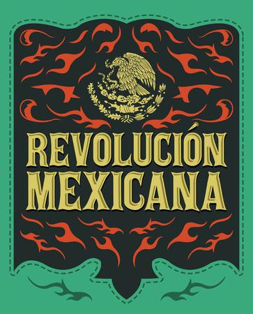 レボルシオン メキシカーナ - メキシコ革命のスペイン語のテキスト - 休日ベクトル ポスター  イラスト・ベクター素材