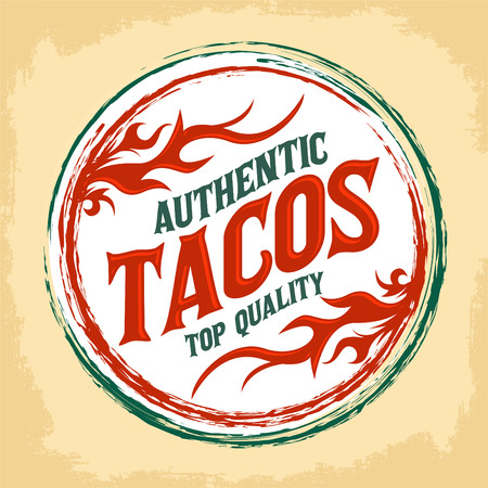 Mexican Tacos vintage icon - emblem, Grunge rubber stamp, mexican food Illustration