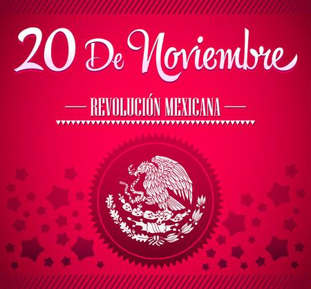 20 de Noviembre, Revolucion Mexicana - Mexican Revolution spanish text card - poster - ribbon