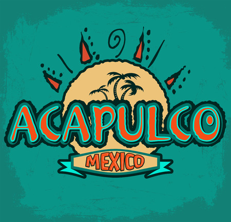 break: Acapulco Mexico - vector icon, emblem design