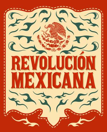 革命博物館メキシカーナ - メキシコ革命スペイン語テキスト - カラフルな休日ベクトル ポスター
