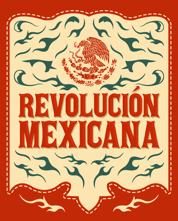 Revolucion Mexicana - mexican revolution spanish text - colorful holiday vector poster Ilustração