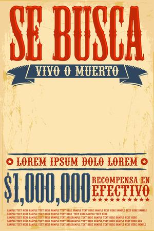 lejos: Se busca vivo o muerto, quería plantilla del cartel muerto o vivo texto Inglés - Un millón de recompensa Vectores