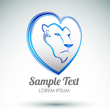 papering: Lion heart icon design - Lion head and love heart emblem
