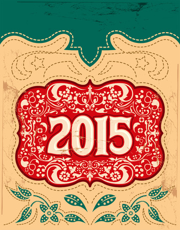 2015 New Year holidays design - western style - cowboy belt buckle
