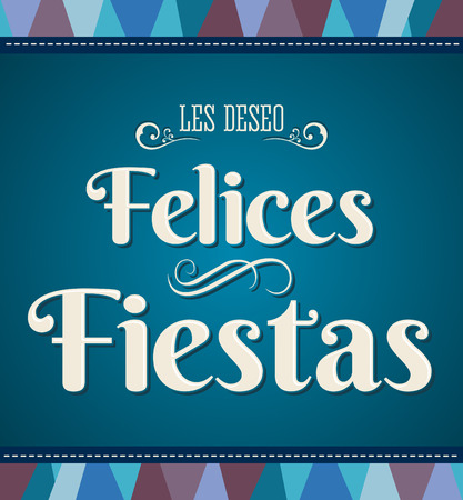 happy new year banner: Felices fiestas - happy holidays spanish text - Fancy card