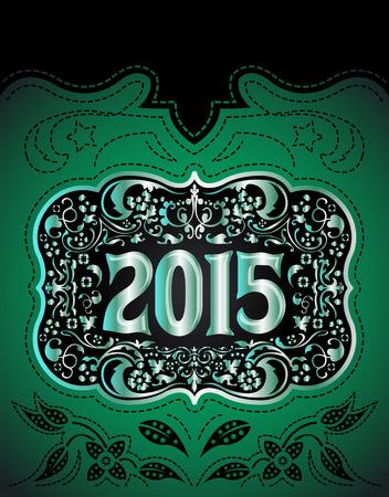 2015 年末年始デザイン - 洋室 - カウボーイ ベルト バックル  イラスト・ベクター素材