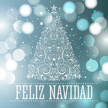 Feliz navidad - Merry Christmas spanish text card - vector fantasy background