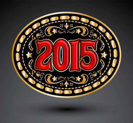 2015 new year Cowboy belt buckle design Illustration