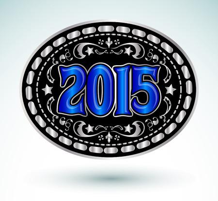 2015 new year Cowboy belt buckle - medal design Vector