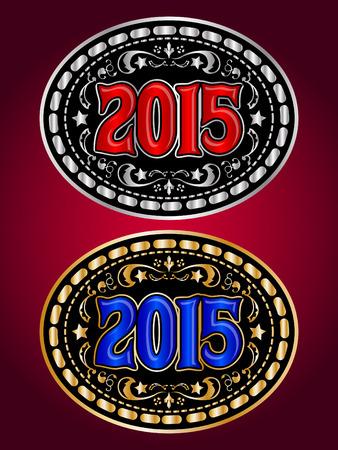 2015 new year Cowboy belt buckle set - medal design Vector