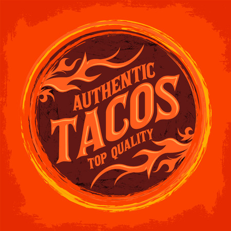 taco: Mexican Tacos icon - emblem, Grunge rubber stamp, spicy mexican food