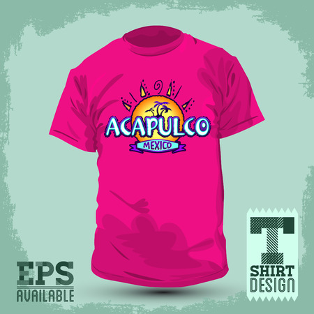Graphic T- shirt design - Acapulco Mexico - Vector illustration - shirt print Illustration