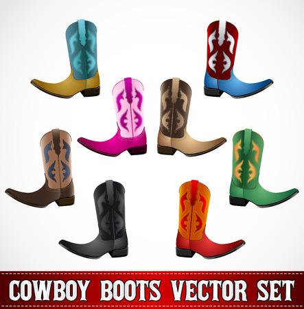 boot: Cowboy Boots - detailed illustration - icon emblem vector set - master collection Illustration