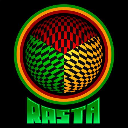 rastaman: Rasta icon - vector emblem, jamaica colors
