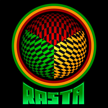 Rasta icon - vector emblem, jamaica colors