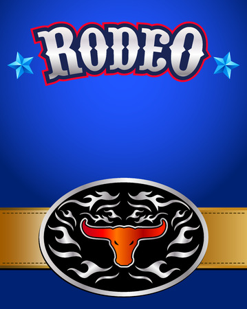 belt buckle: American Rodeo poster - western belt buckle background illustration