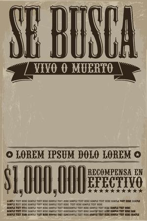 Se busca vivo o muerto, Wanted dead or alive poster spaans tekst sjabloon - Een miljoen beloning Stock Illustratie