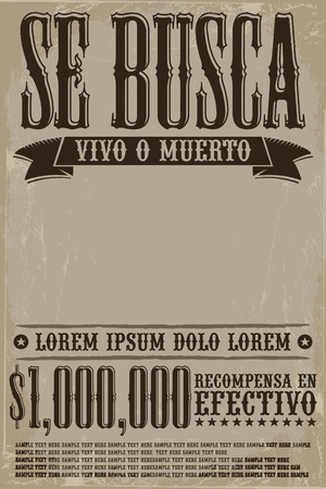 movie poster: Se busca vivo o muerto, Wanted dead or alive poster spanish text template - One million reward