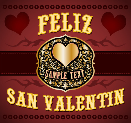 gold buckle: Feliz San Valentin - Happy Valentines spanish text - cowboy  western style card